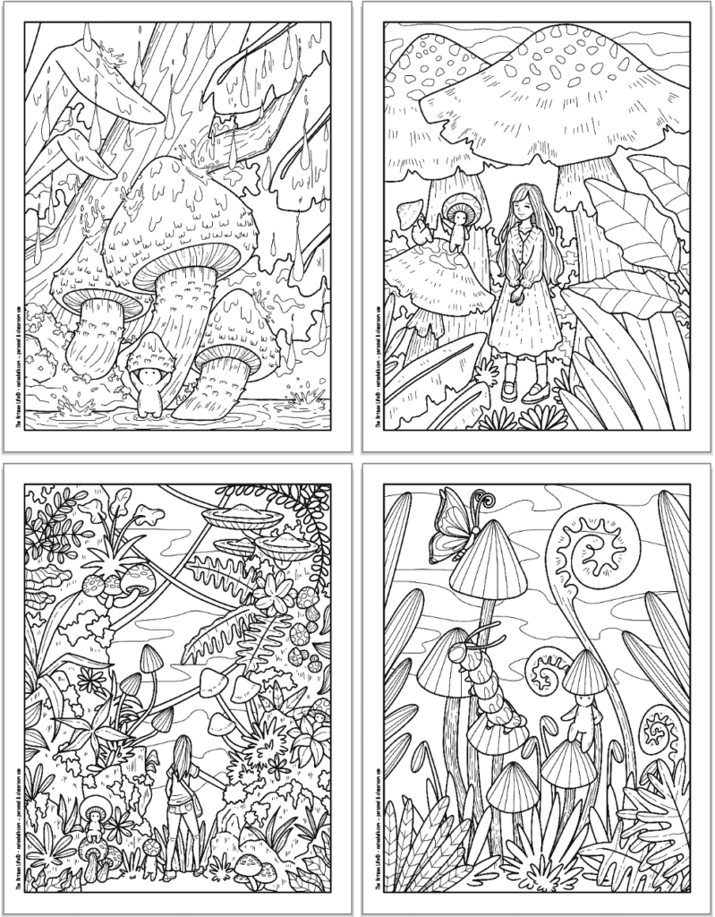 A 2x2 grid with four printable mushroom coloring pages. Each page has cute mushroom people to color with larger mushrooms in the rain, a girl walking between mushrooms with a mushroom person guide, a person exploring a mushroom forest, and a mushroom person with a caterpillar and a butterfly.