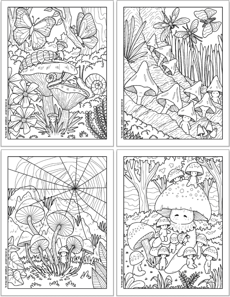 A 2x2 grid with four printable mushroom coloring pages. Each page has cute mushroom people to color with larger mushrooms, butterflies, dragonflies, a spider web, and a large mushroom person.