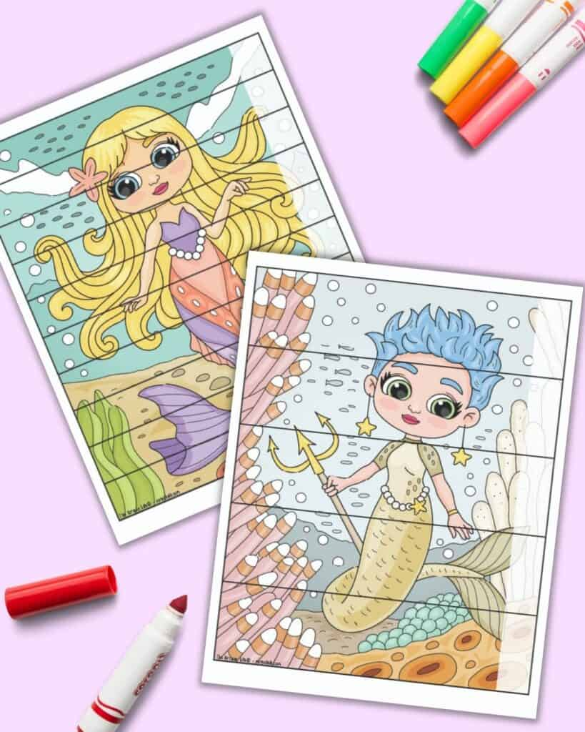 Two mermaid puzzles with spaces to fill in numbers or words along the right side. One puzzle has five pieces and the other has ten pieces.