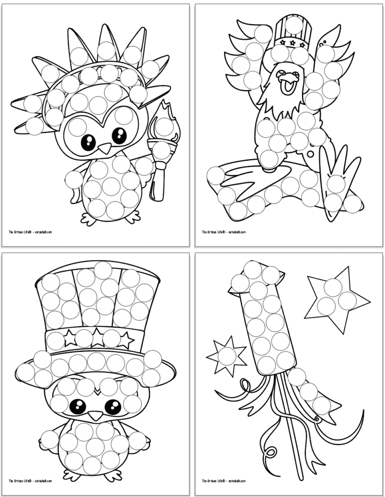 Four free printable dot marker colorings pages for the Fourth of July. Each page has a large black and white image covered with circles to dot in. Images include: an owl with a torch, an eagle with a hat, an owl with an Uncle Sam hat, and a firework.