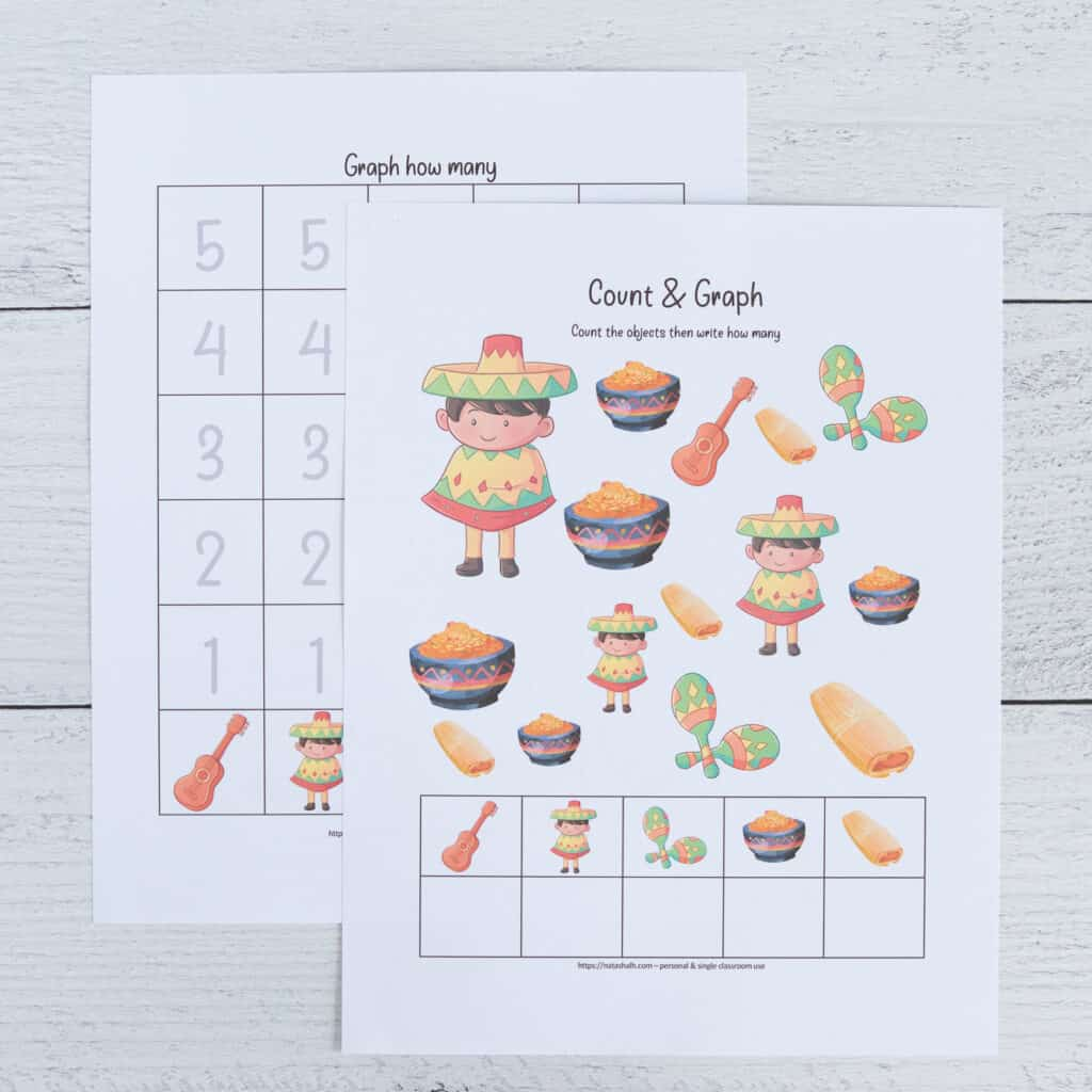 A preview of two printed pages. The front page is an I Spy page for Cinco de Mayo with 1-5 and behind is a graphing page to graph the results of counting the clip art on the other sheet.