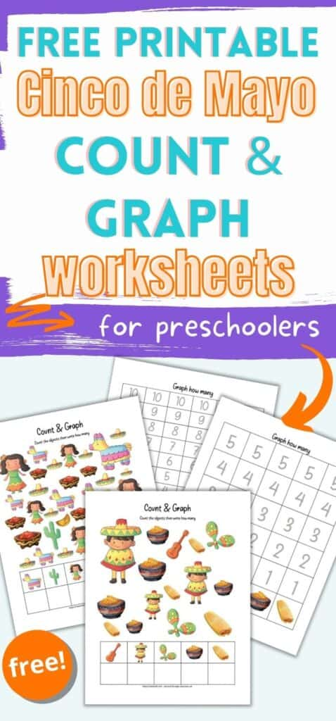 """Text """"free printable cinco de mayo count and graph worksheets for preschoolers"""" above a preview of four pages of count and graph printable. Two pages are I Spy pages with images to color. The other two pages are graphing printables to graph results."""