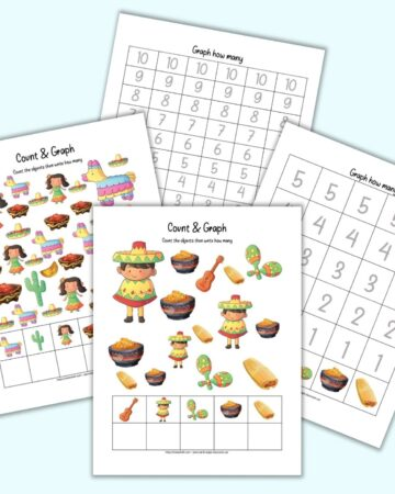 A preview of four printable pages of Cinco de Mayo count and graph worksheets for preschoolers. Two pages have Mexican themed images to count and two pages have space to graph the results.