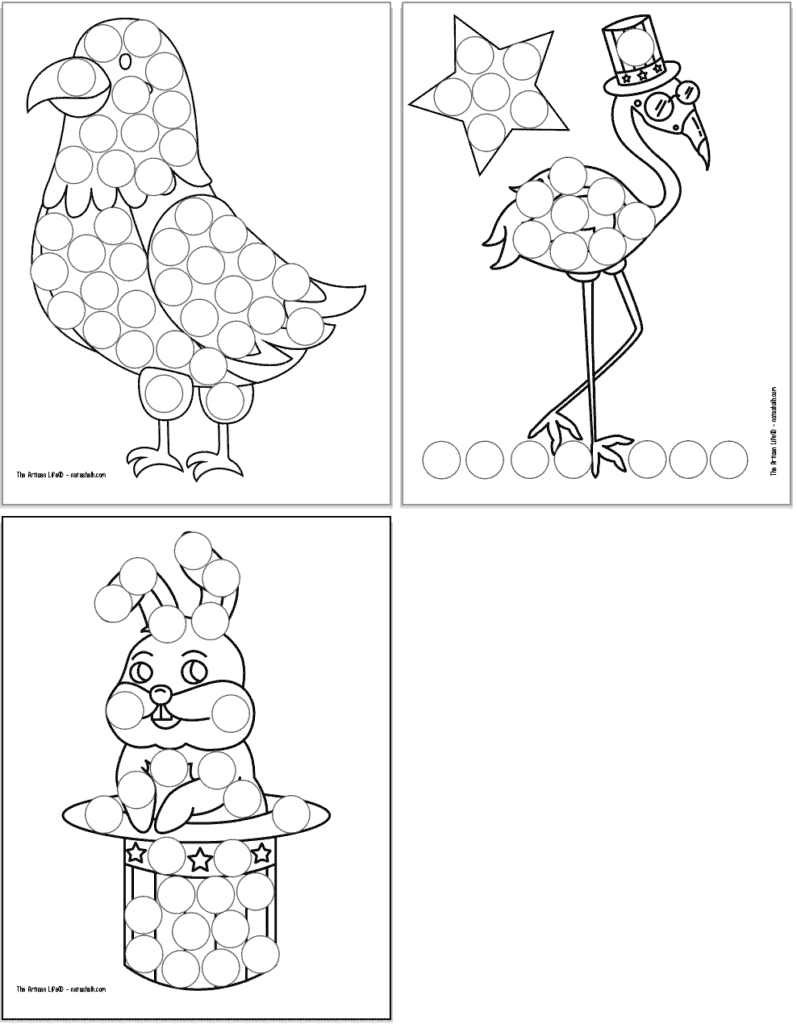 Four free printable dot marker colorings pages for the Fourth of July. Each page has a large black and white image covered with circles to dot in. Images include: a cute eagle, a flamingo in an Uncle Sam hat and a rabbit coming out of a patriotic hat.