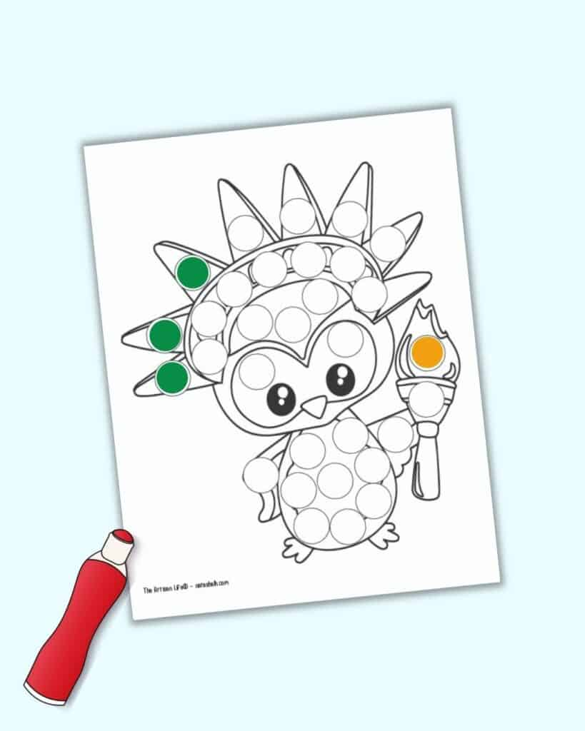 A do a dot marker page with an owl as the Statue of Liberty.