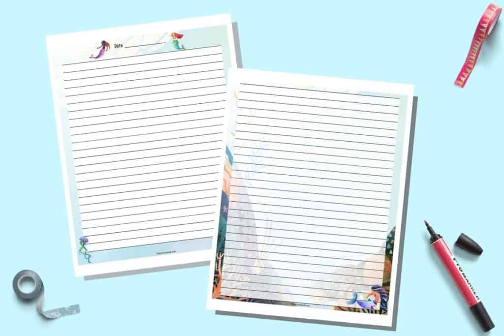 Two printable pages of lined journal paper with a mermaid theme