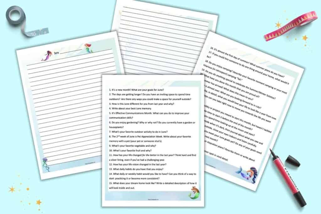 A preview of four printable pages. Two have 15 journaling prompts each and the other two are lined journaling pages with a mermaid theme