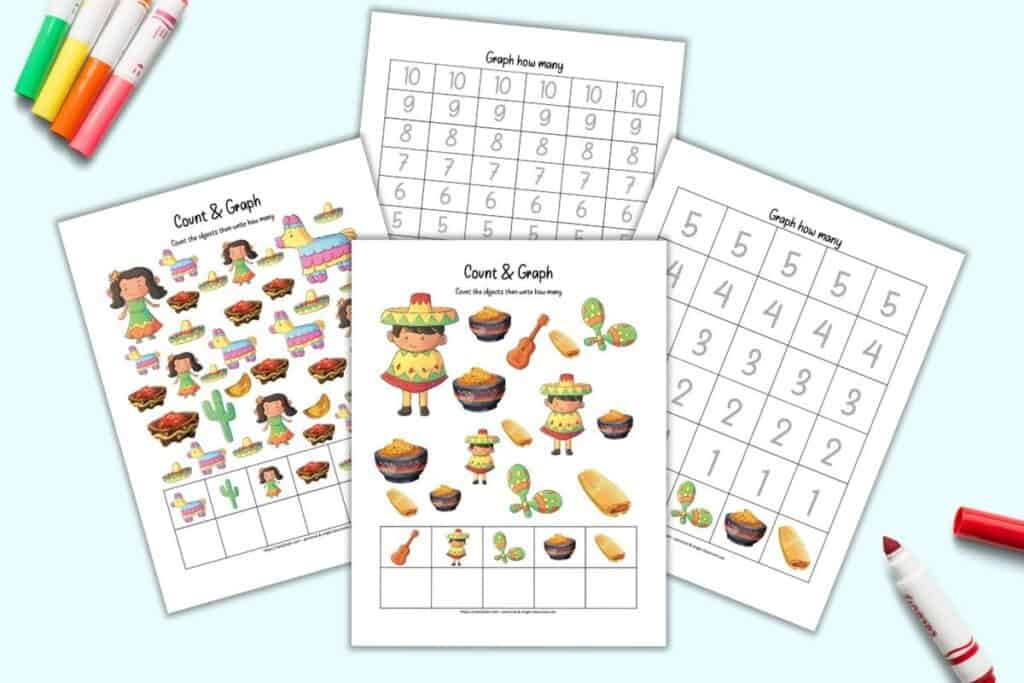 A preview of four printable count and graph pages with a Cinco de Mayo theme. Two pages have images to count and the other two pages have space to graph the results.