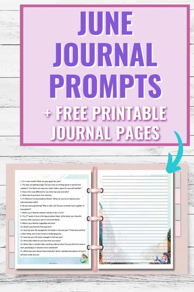 """Text """"journal journal prompts + free printable journal pages"""" above a mockup of a pink three ring binder open with a page of journal prompts on the let and a mermaid themed journal page on the right"""