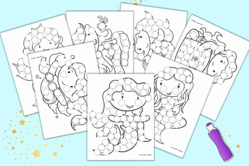 A preview of seven printable mermaid dot marker printables. Each page has a large black and white mermaid with circles to dot in with a dauber marker