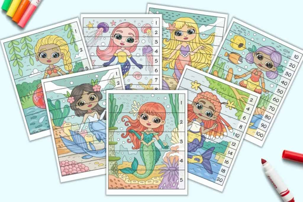 A preview of seven free printable mermaid theme number building puzzles for preschoolers and kindergarteners. Each vertical mermaid image has pieces to cut out with numbers along the right hand side. Children complete the picture to place the numbers in the correct order.
