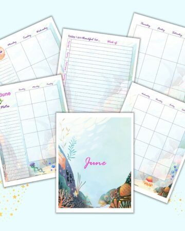 a preview of six pages of june planner inserts with a mermaid theme. Pages include a cover page, gratitude journal page, monthly calendar, and two page weekly spread