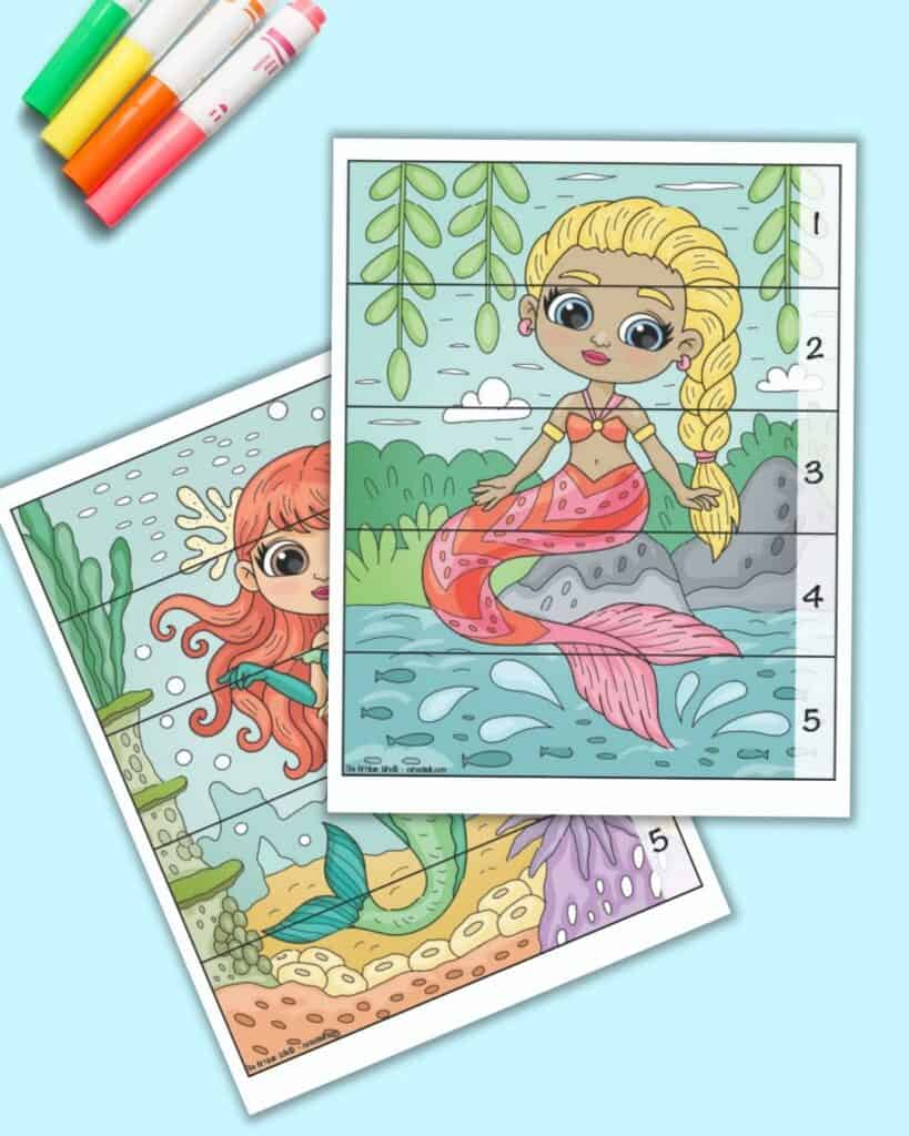 A preview of two free printable mermaid theme number building puzzles for preschoolers and kindergarteners. Each vertical mermaid image has five pieces to cut out with numbers along the right hand side. Children complete the picture to place the numbers in the correct order 1-5.