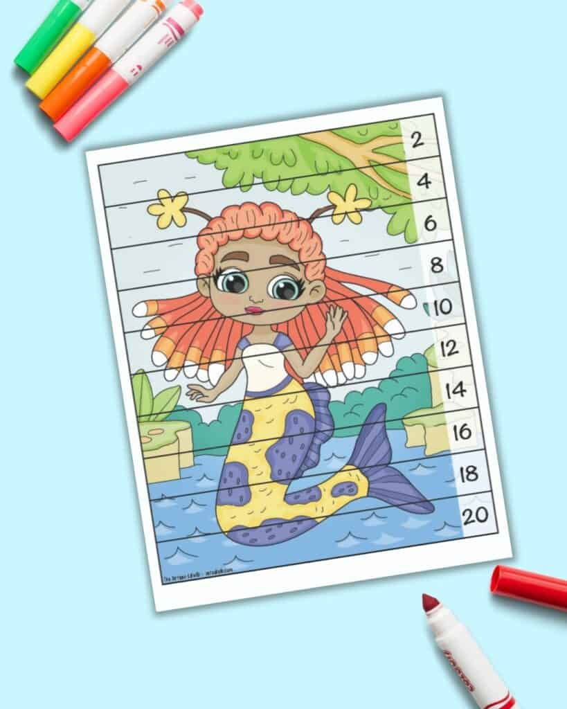 A skip counting by 10s number building puzzle with an image of a mermaid with purple hair and an orange tail