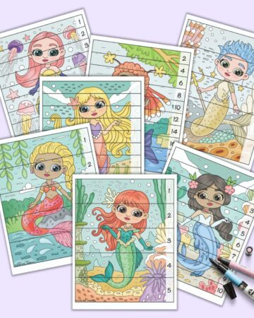 A preview of seven printable mermaid themed number building puzzles for preschoolers and kindergarteners. Each page has horizontal lines to cut the mermaid image into strips that are that resembled correctly by placing the numbers in numerical order.
