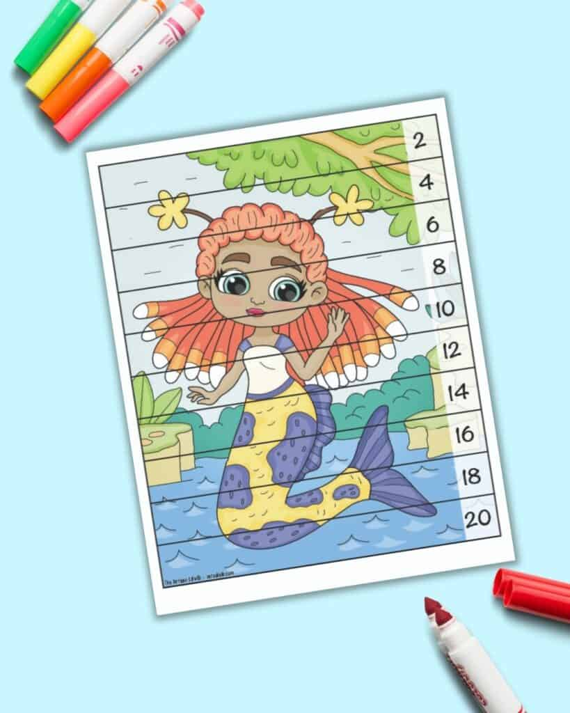 A skip counting by 2's number building puzzle with a mermaid image. The mermaid has orange hair that looks like an anemone and a yellow and purple tail.