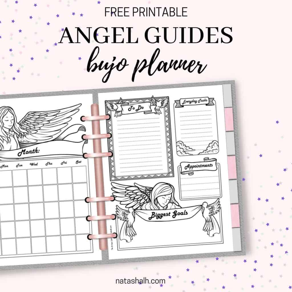 """Text """"free printable angel guides bujo planner"""" above a preview of an open planner with an angel themed monthly calendar and an angle themed daily log page"""