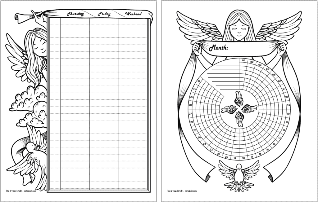 A side by side preview of two free printable planner pages with a guardian angel theme. The pages are black and white. From left to right they are: the second half of a two page weekly spread and a habit tracker.