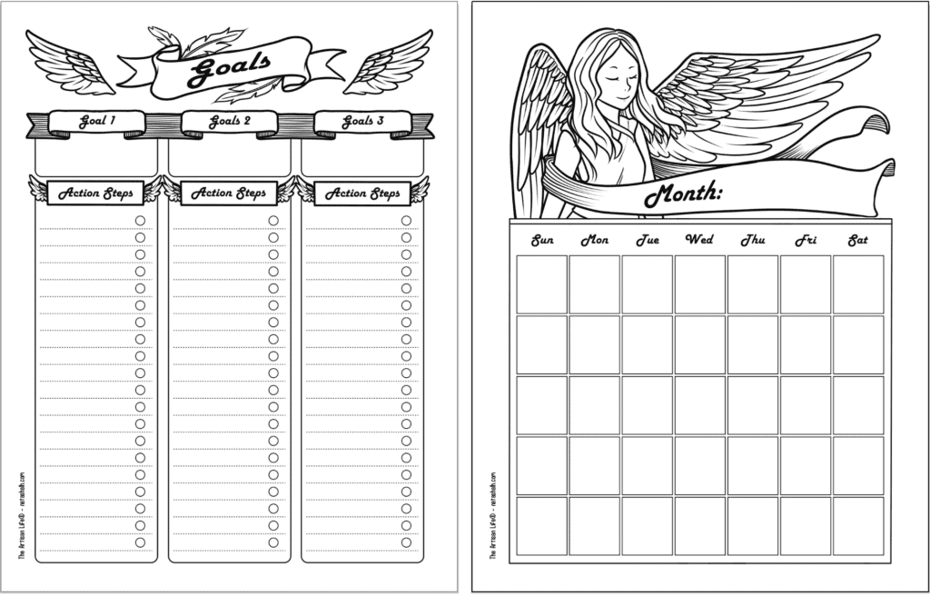A side by side preview of two free printable planner pages with a guardian angel theme. The pages are black and white. From left to right they are: a goals tracker and an undated monthly calendar page