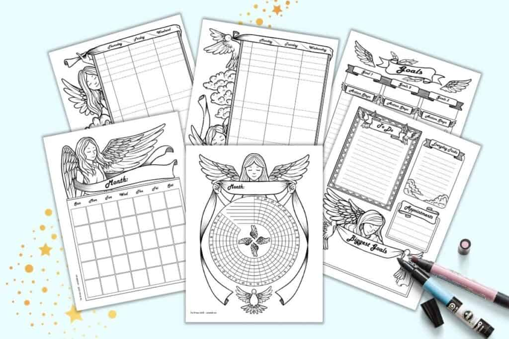 A preview of six sheets of angel themed bujo-style planner pages including a habit tracker, monthly log, daily log, two page weekly log, and goals tracker