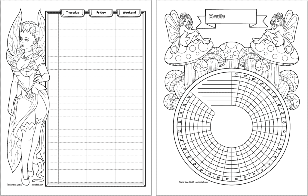A preview of two pages of fairy planner printable in black and white. On the left is the second half of a two page vertical spread, on the right is a habit tracker.