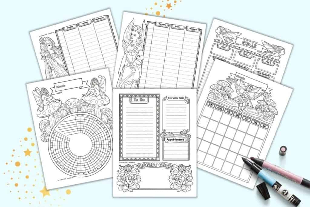 A preview of six black and white fairy themed planner pages including a goal trackers daily log, two page weekly spread, monthly calendar, and habit tracker.