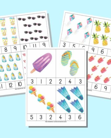 a preview of three pages of preschool count and clip cards. Each page has four cards with 1-12 clipart images and numbers along the bottom of each card so a child can select the correct number of items shown.