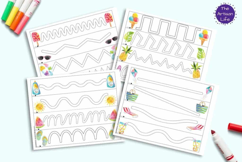 A preview of four free printable trace in the path prewriting practice pages for preschoolers. Each page has four paths to trace and summer themed watercolor illustrations.