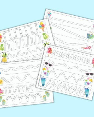A preview of four free printable summer themed trace int eh path pages for preschoolers. Each page has four simple paths to trace and summer themed clipart.