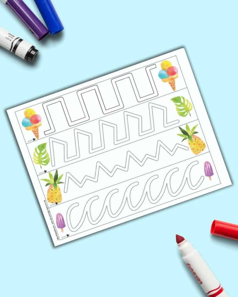 A page with four tracing paths and summer clipart at the beginning and end of each path