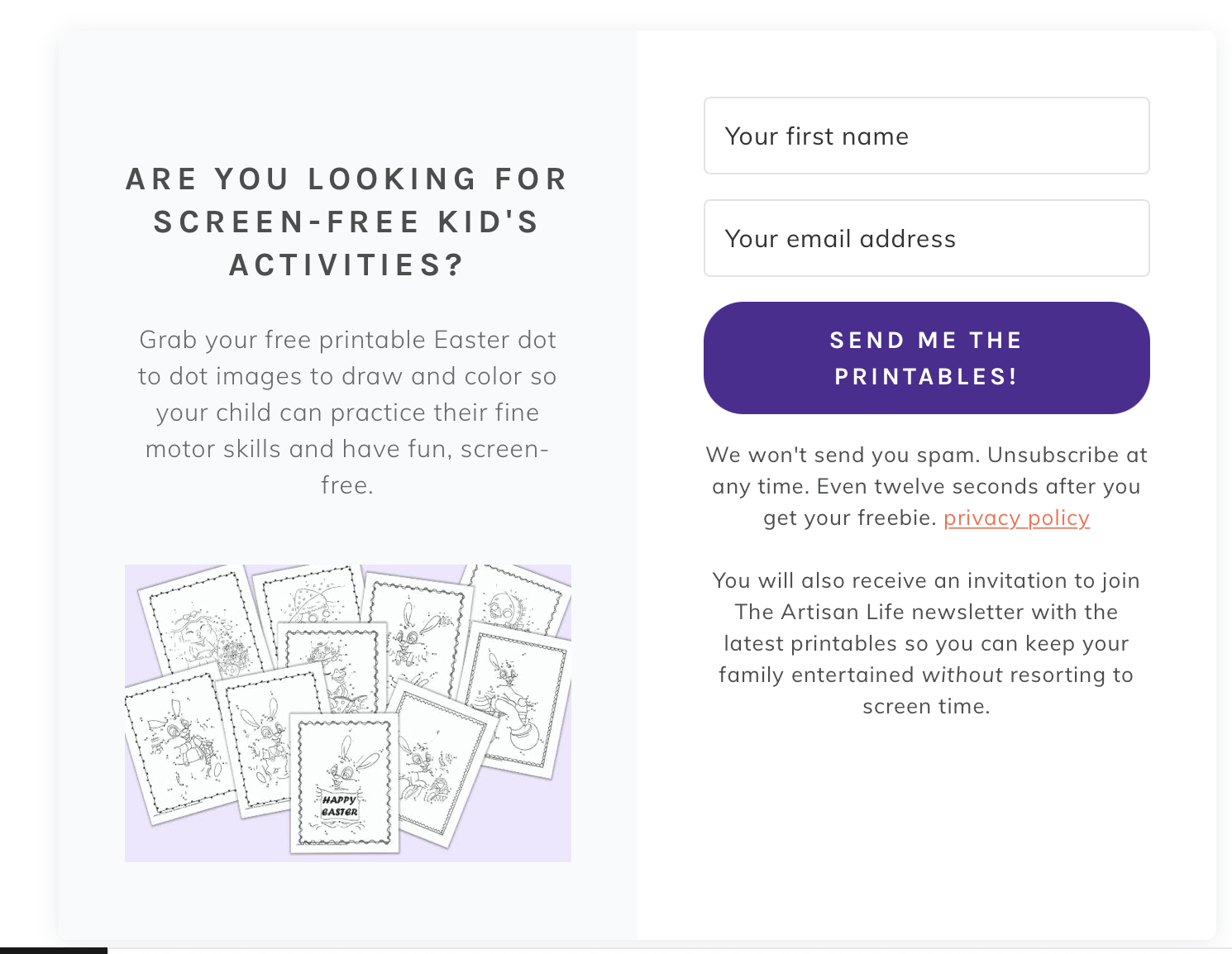 a preview of opt-in box for easter dot to dot printables