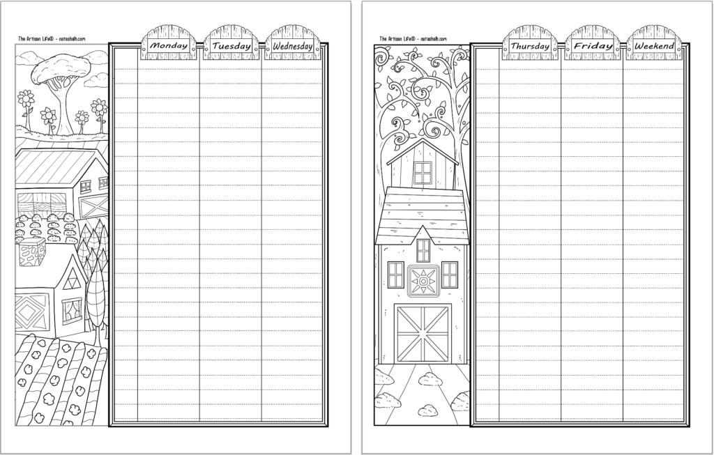 Two printable bujo style planner printables with a folk art barn theme. The pages are a two page weekly spread.