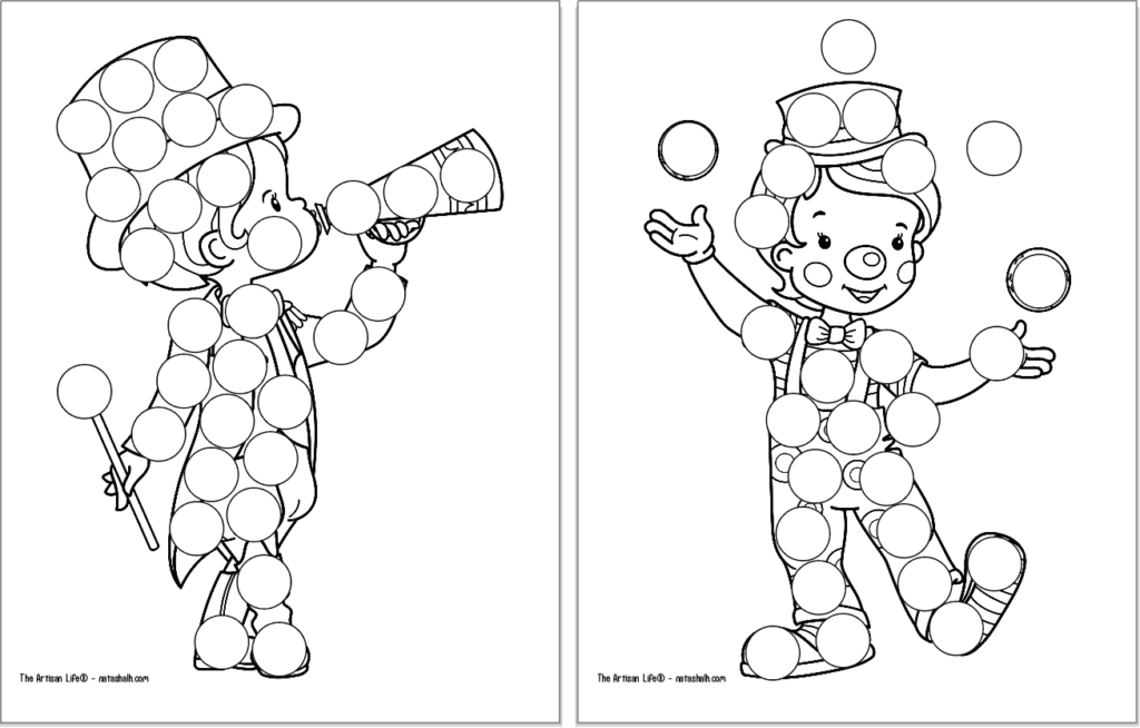 A preview of two circus themed dot marker coloring pages. Each page has a large black and white image covered with blank circles to dot in with a dauber marker. Images include: a boy as the ring leader and a boy clown