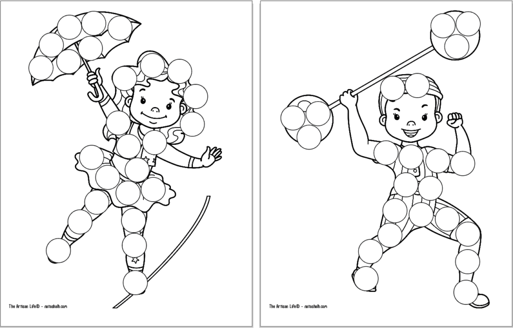 """A preview of two circus themed dot marker coloring pages. Each page has a large black and white image covered with blank circles to dot in with a dauber marker. Images include: a tightrope walker and a """"strongman"""" boy with an old fashioned barbell"""