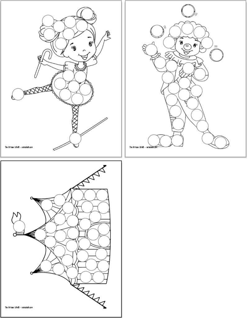 A preview of three circus themed dot marker coloring pages. Each page has a large black and white image covered with blank circles to dot in with a dauber marker. Images include: a tightrope walking girl, a clown, and a circus tent