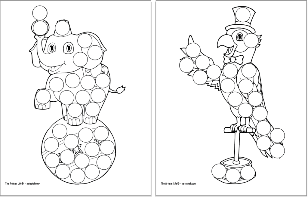 A preview of two circus themed dot marker coloring pages. Each page has a large black and white image covered with blank circles to dot in with a dauber marker. Images include: an elephant on a ball and a parrot on a perch
