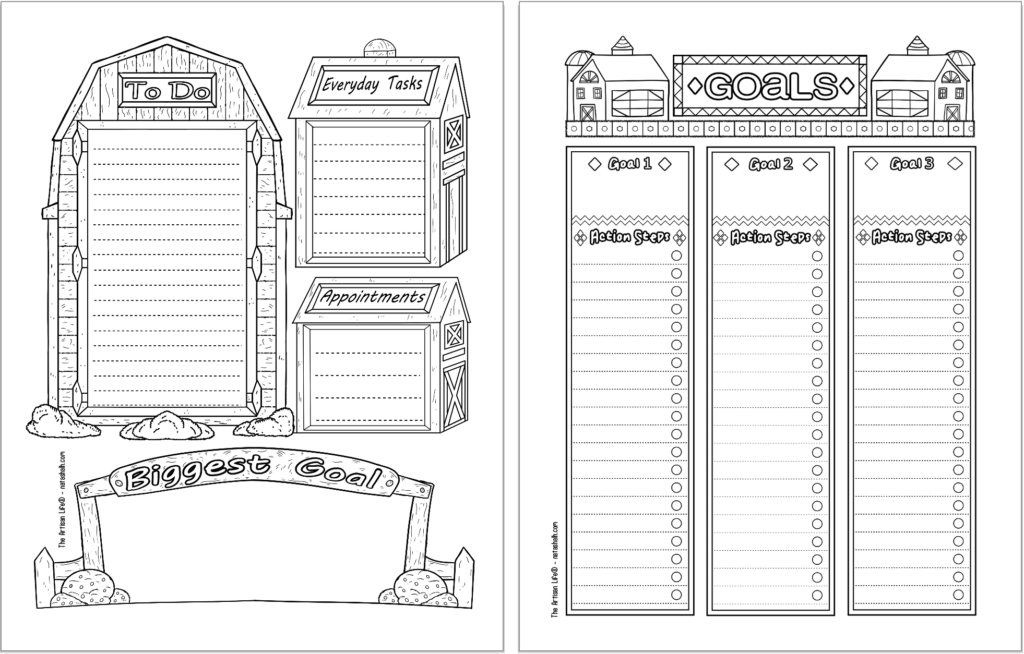 Two printable bujo style planner printables with a folk art barn theme. Pages are: a daily log and a goals planner