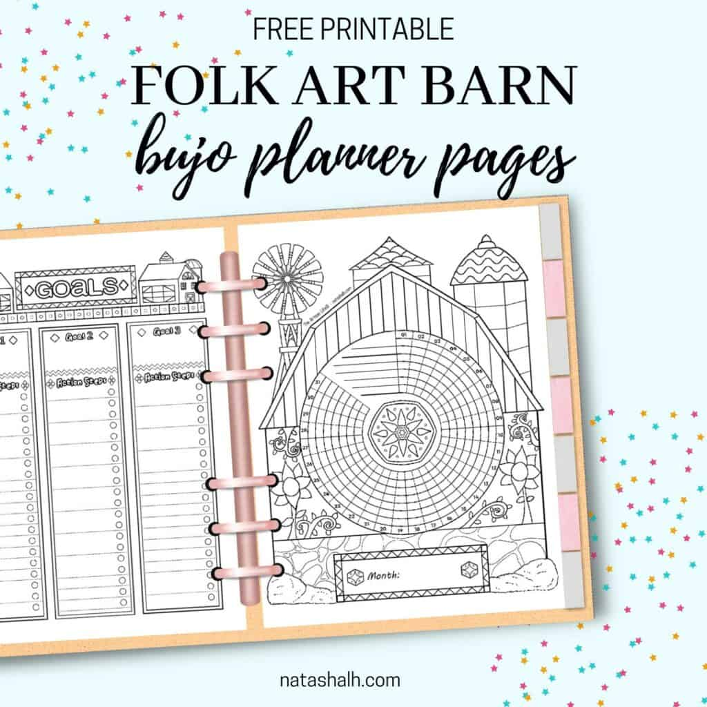 """Text """"free printable folk art barn boho planner pages"""" above a mockup of an open planner with a barn themed habit tracker and goals tracker page"""