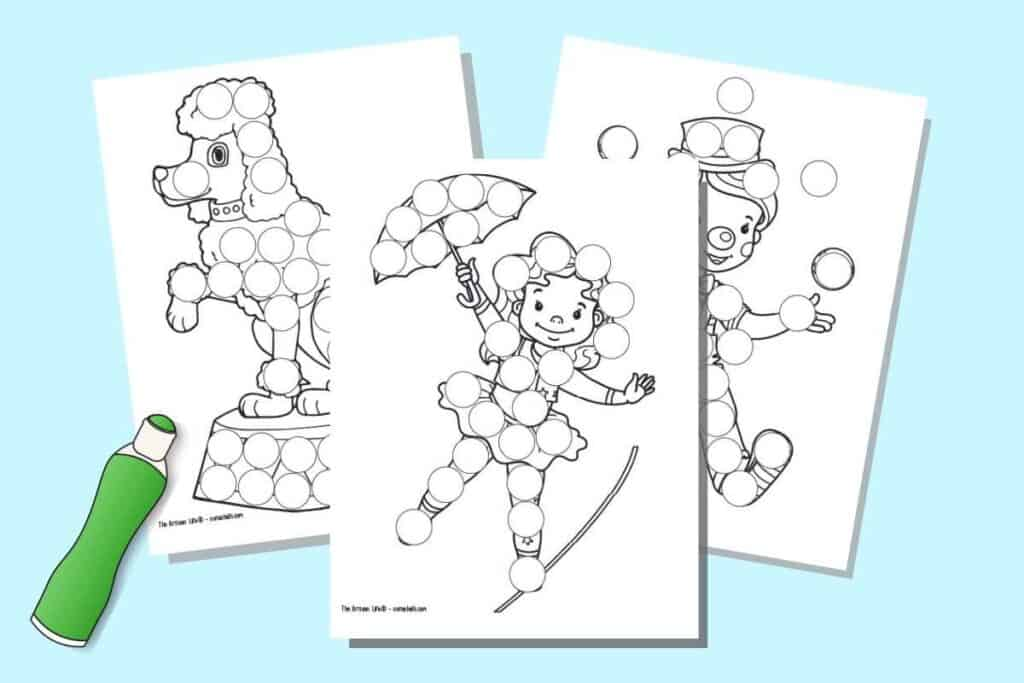 a preview of three circus themed dab it dot marker printables with a green illustrated dauber marker