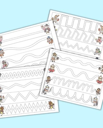A preview of four pages of prewriting practice tracing paths for preschoolers. Each page has four paths. A school themed owl is to the left and right of each tracing path. The pages are on a blue background