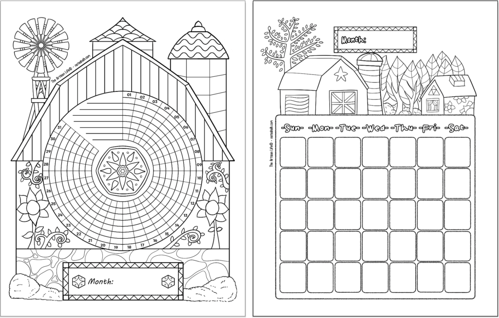 Two printable bujo style planner printables with a folk art barn theme. Pages are: A 31 day habit tracker and a monthly calendar page.