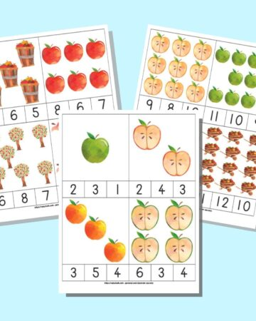 A preview of six pages of printable apple theme count and clip cards. Each page has four cards with clipart and three numbers below each set of images. One number in each set correctly represents the number of clipart images. The pages are on a light blue background.