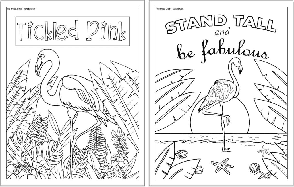 """A preview of two flamingo coloring pages for adults. Each page has a flamingo to color with a phrase. On the left is """"tickled pink"""" and on the left is """"stand tall and be fabulous"""""""