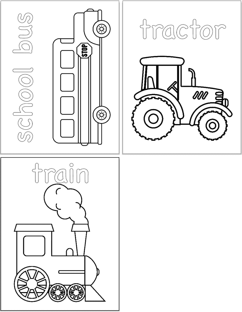A preview of three vehicle themed coloring pages with: a school bus, a tractor, and a train.
