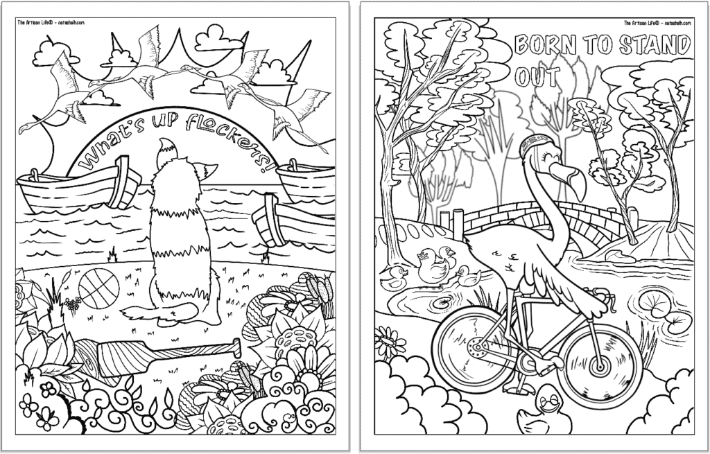 """A preview of two flamingo coloring pages for adults. Each page has a flamingo to color with a phrase. On the left is """"what's up flockers!"""" and on the right is """"born to stand out"""""""