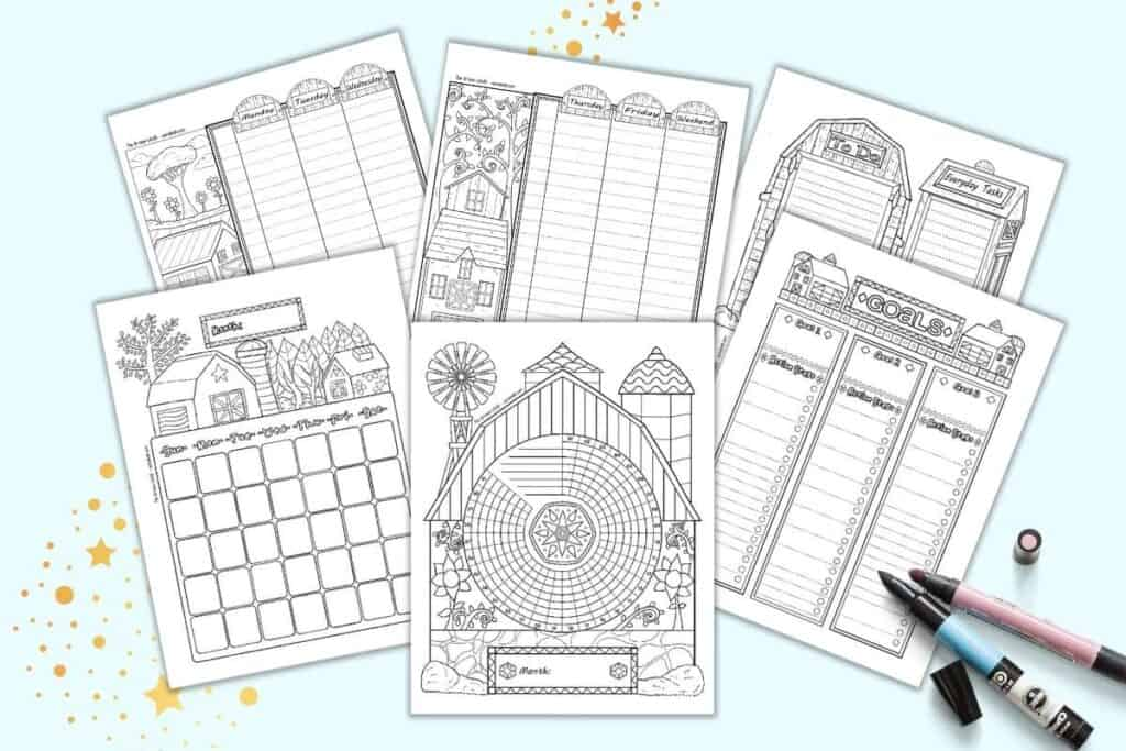 a preview of six folk art barn themed planner pages in a bujo style. The pages are black and white. They feature illustrations of barns in a folk art style. Pages include: daily log, two page weekly spread, goals tracker, habit tracker, and monthly calendar page.