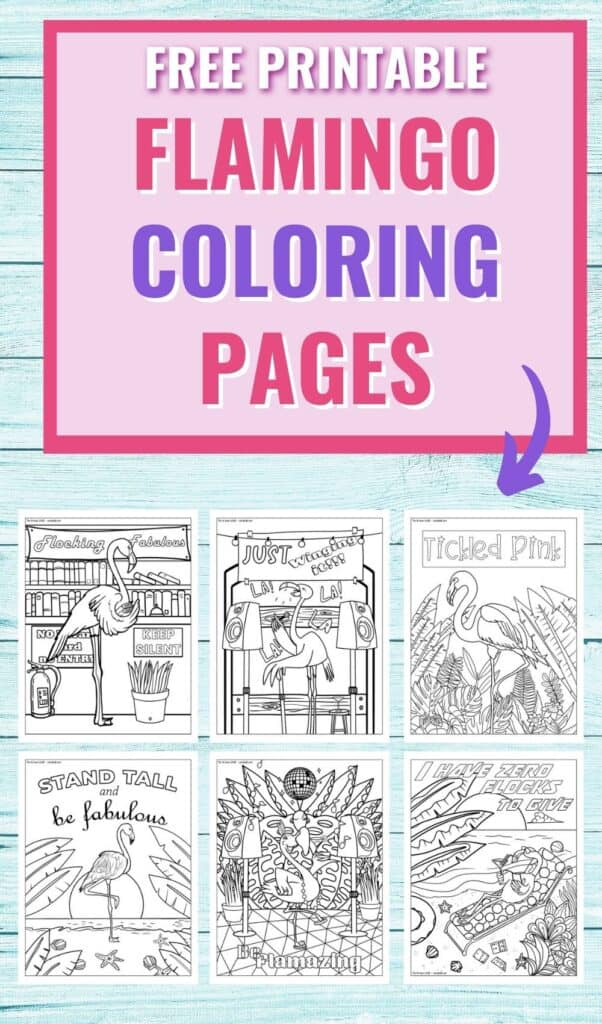 """Text """"Free printable flamingo coloring pages"""" with a purple arrow pointing at previews of six flamingo coloring pages for adults"""