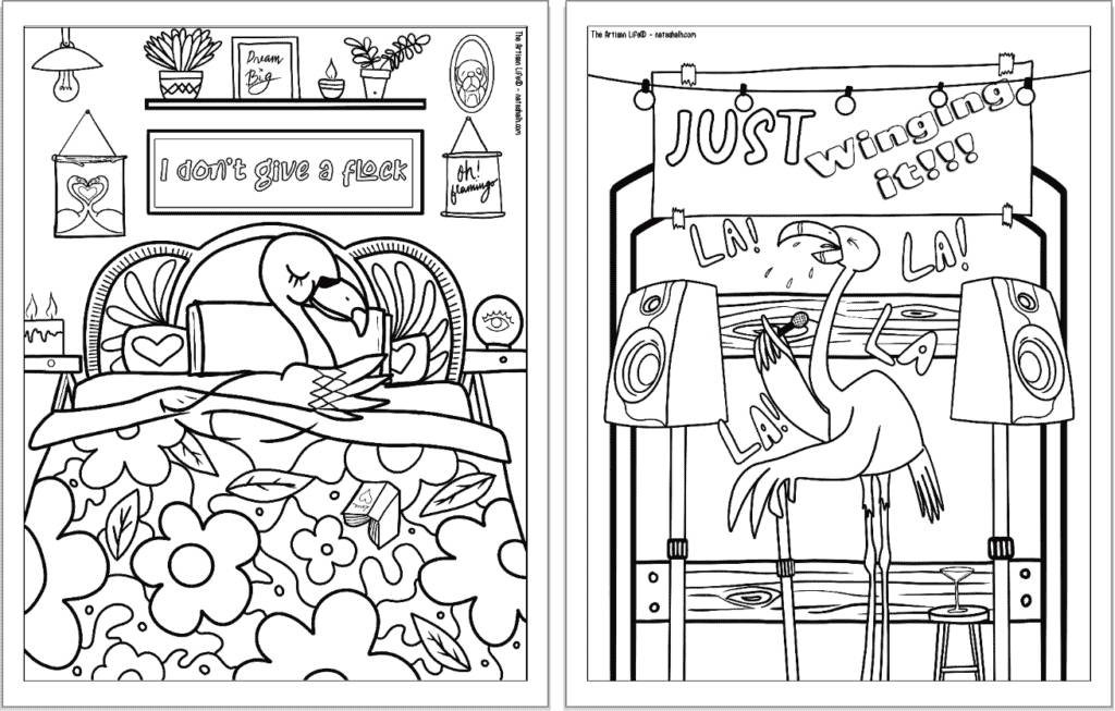 """A preview of two flamingo coloring pages for adults. Each page has a flamingo to color with a phrase. On the left is """"I don't give a flock"""" and on the right is a singing flamingo with the phrase """"just winging it"""""""