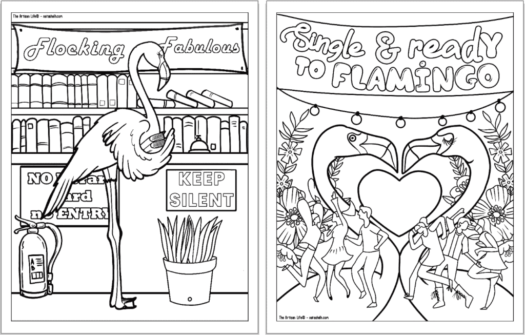 """A preview of two flamingo coloring pages for adults. Each page has a flamingo to color with a phrase. On the left is """"flocking fabulous"""" and on the right is """"single and ready to flamingo"""""""