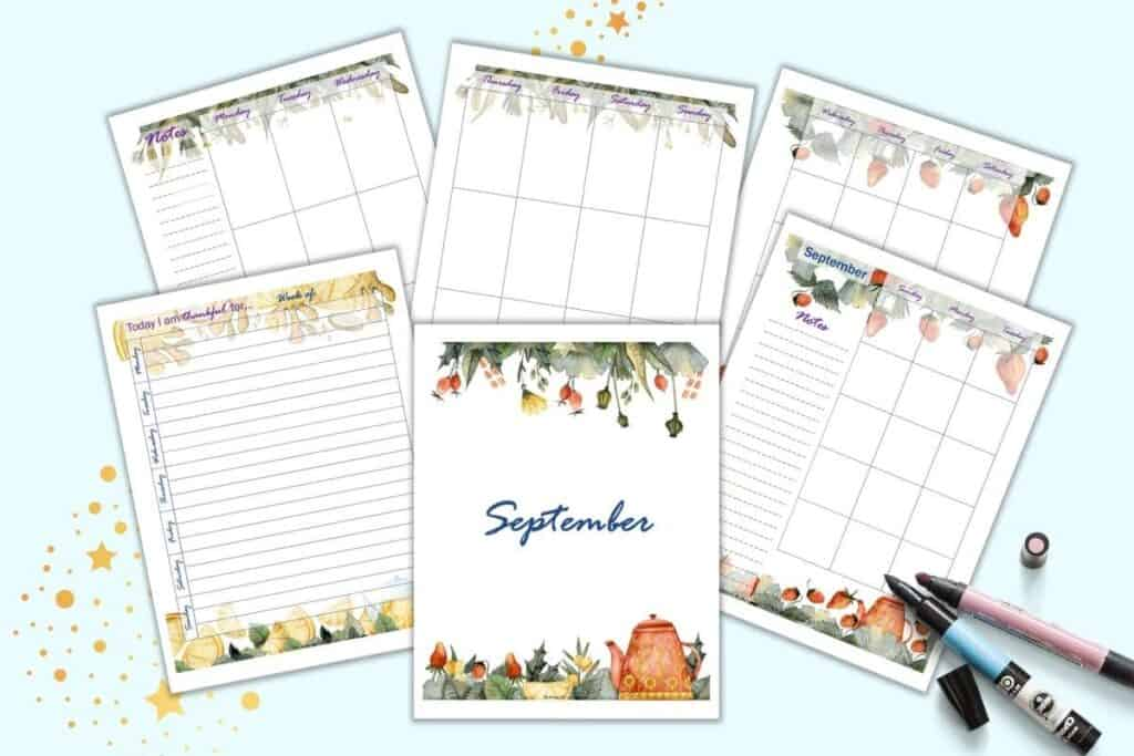 A preview of six pages of September planner printables with watercolor tea themed clipart. Pages include: a cover page, daily gratitude journal page, monthly two page spread, and weekly to page spread.